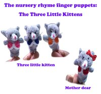 baby girl kitten - Newest Baby Plush Finger puppets Toy The three little kittens pieces group