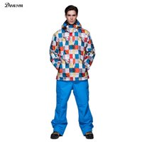 Wholesale New Gsou Snow brand colorful grid winter warm hooded waterproof windproof men s ski jacket oudoor sports snowboard skiing suit