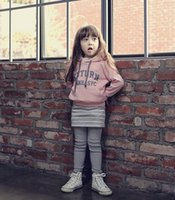 leggings with pockets - Korean Style Girls Winter Outfits Kids Casual Letters Printed Pinky Hoody With Pocket Child Gray White Stripe Pantskirt Leggings E1566