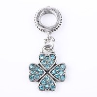 Wholesale 2015 DIY Beads silver Lucky clover with colors Fit Original Pandora Bracelet Charms For Women Jewelry ps3242