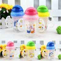 Wholesale Durable Baby Kids Straw Cup Drinking Bottle Sippy Cups With handles Cute Design FFY A5