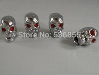 Wholesale high quality metal material with chrome plated skull shape car tire valve cap bag air dust cap