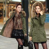 Wholesale 2016 New Winter Parka Women Fleece Winter Coat Army Green Fur Hooded Coat Fashion Warm Women Jacket Chaquetas Mujer