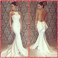 Branco Spaghetti partido da sereia da celebridade Natural Magro Vestidos Sereia Natural Magro Backless Clube usar vestidos 2015 Sale Cheap