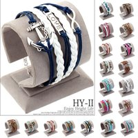 anchor bracelete - Vintage Braided Anchors Rudder bracelete Love owl best friends Leather Bracelet men jewelry heart Rope charm Bracelets for women