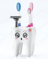 Wholesale Cartoon Cute Hole Fashion Tooth Style Brush Toothbrush Holder Bracket Container Sucker for Bathroom SV011012