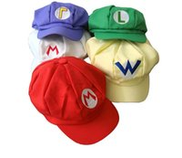 Wholesale 20pcs Super Mario Bro Anime Mario Cap Cosplay New Best Gift super mario hat cotton