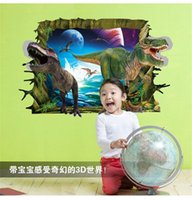 art park - dinosaurs through wall stickers kids room decoration diy home decals cartoon mural art Jurassic park movie pvc posters home decora