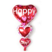 balloon string - 50pcs alumnum balloons Festival party supplies The new string of heart balloon foil balloons happy day heart strings of helium balloons whol