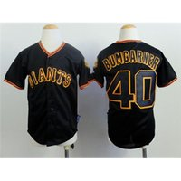Black Kids jerseys de béisbol Gigantes barato # 40 Madison Bumgarner Enfriar Béisbol Juvenil Wears populares descuento uniformes del béisbol Kits para Niños