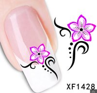 Wholesale 1Pcs Nail Art Water Sticker Nails Beauty Wraps Foil Polish Decals Temporary Tattoos Watermark XF1428