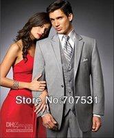 Wholesale shirt and tie fashion New Gray Wool Men Designer Groom Suits Bridegroom Wedding Suit Groom Tuxedos Jacket Pants Tie Vest