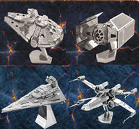 Wholesale DIY D Models Metallic Nano Puzzle star wars F15 R2D2 darth vader robot Kits no glue required For kids adult Chirstmas gift Free DHL FedEx