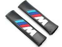 Wholesale 1pairs X M tech Power Emblem Black Carbon fiber Lorinser Seat Belt Sholder Pads Motor Sport Free shiping By Post Air Mail