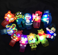 big lots christmas lights - 10pcs Flash LED lighting children kids bracelet wrist band birthday gift party decoration Cartoon flash luminous watch g