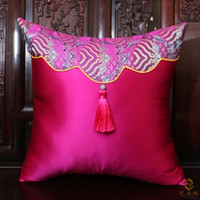 Wholesale Ethnic Patchwork Tassel Pillowcase for Waist Pillow Bedside Latest Chinese Style Silk Brocade Luxury High End Cushion Cover for Sofas Chairs
