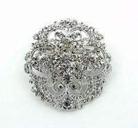 asian style wedding invitations - 2015 Newest Top Quality Vintage Style Rhinestone Crystal Diamante Round Flower Brooch Wedding Invitation Brooch Pins