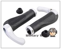 Wholesale 100 Brand New Double Lock Non Slip Anti skid Outdoor Sports Bike Bicycle Lock On Handlebar Grips With Horn Deputy White order lt no track