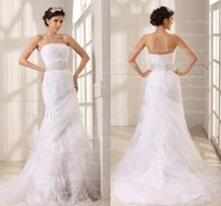Wholesale 2016 White Organza Strapless Wedding Dresses Crisscross Pleated Crystals Beaded Sashes Vestido de Novia Lace Up Back Wedding Gowns GD