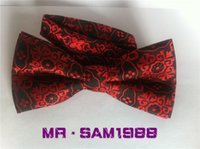 Wholesale Fashion Pattern flowers Red tie Dancing Butterfly Knot Bow tie marriage Suit Cocktail Tie Bow tie Adjusted freely