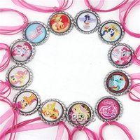 horse jewelry - Cartoon My Little Pony New Bottle Caps Necklace Hot Pink Ribbon Necklace Horse Pony Pendants Baby Children Jewelry Accessories Kids Jewelry