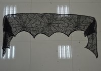 halloween cobweb - Black Lace Cobweb Mantle Burner Scarf Cloth Spooky Halloween Decoration and Party Accessory for Doorway Buffet Backdrop Gift quot x96 quot