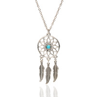 turquoise jewelry - Summer beach retro style women chain jewelry hollow round alloy charm with Turquoise accessory ancient silver wings necklace