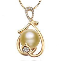 pearl - 10 mm South Sea Natural Gold Pearl Necklace Pendant K Gold Natural Diamond Fine Jewelry Women s Day Gift