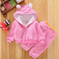 100% wool suits - Winter Brand Baby Clothing Set Pure Cotton Inside lambs wool Hoodies Coat Pants Toddler Boy Girl Sport Suit Small Kids Tracksuit TR66