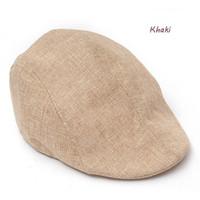 Wholesale Unisex Casual Retro Hemp Beret Cap Country Golf Sun Flat Beret Hat Pure Color Summer Beach Hat