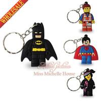Wholesale 40PCS New Hot Sale Super Heroes Lego Movie Novelty Cartoon Keyrings Keychains Kawaii Keyfob soft PVC key chains Cartoon Character Key Chains