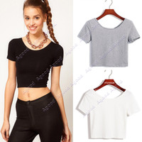 crop tops - 2015 New fashion Women Best Selling U neck Sexy Crop Top Ladies Short Sleeve T Shirt Tee Short Basic Stretch T shirt SV007416