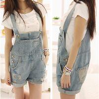Wholesale New Girls Hole Denim Playsuit Jumpsuit Fashion Plus Size Shorts Jeans Rompers Brace Overalls For Women C444