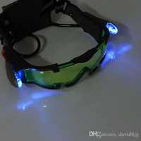 Wholesale 2015 Portable Sport Camping Equipment Green Lens Adjustable Night Vision Goggles Glasses Eyewear With Flip out Light