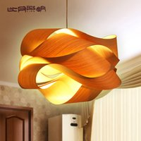 american veneer - Chinese style wood Project light veneer lamps personalized pendant light southeast aisa american country lamp with LED bulb