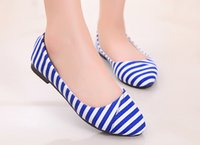 Wholesale NEW Women s Casual shoes Fashion Pointy stripe style Casual shoes Flat shoes XS33