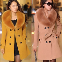 Wholesale winter women s Double Breasted big fur collar Plus Size Wool Coat long Winter Jackets parka coats Outerwear good quality