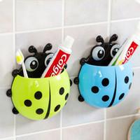 Cheap Wholesale-Cute Ladybug Cartoon Sucker Toothbrush Holder suction hooks   Household Items   toothbrush rack   bathroom set #69824
