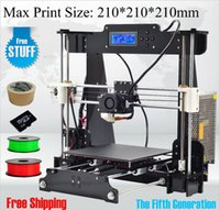 Wholesale 6 Material size mm High Quality Precision Reprap Prusa i3 DIY d Printer kit with Roll Filament GB SD card and LCD