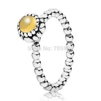 Cheap New! 925 Sterling Silver Rings Citrine Birthstone European Elegant Jewelry For Women Ring Party Birthday Gift Top Quality