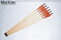 Wholesale 6pcs Traditional Wooden Arrows Hunting Arrows with Turkey Feathers Archery Orange