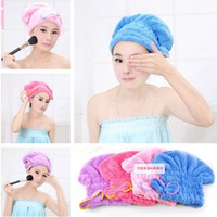 Wholesale HOT Home Textile Super Absorbent girl Dry Hair Hat Microfiber Hair Turban Quickly Dry Hair Hat Wrapped Towel Bathing Cap