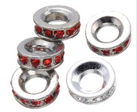 Wholesale 14mm Tibetan Silver Big Hole Pandora Charm Bead Wheel Bead Wave Pattern Rhinestone Fit Pandora Bracelets mm Hole