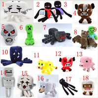 Cheap 19 Styles New Minecraft plush dolls toys 2015 minecraft stuffed toys spider skeleton wolf bat zombie brown cow kids gifts Free EMS