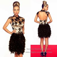 feather cocktail dress - Hot Sell Short Cocktail Dress Celebrities Appliques High Neck Lace Backless Feathers Party Dresses E2555