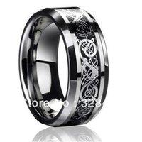 8m m de par en par El tamaño libre 4-13 de la plata esterlina de la venda de boda de la joyería del Mens del anillo del carburo de tungsteno del dragón del Mens
