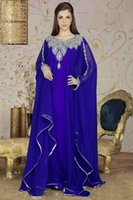 Cheap New Arrrival Muslim Jewel Arabic Dubai ABAYA KAFTAN Blue Long Sleeve Royal Blue Embroidey Maxi Dresses Appliques Evening Dress