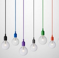 al por mayor luces de comedor-Lámpara colgante E27 muuto múltiples colores decoración arte de la luz colgante de iluminación pendiente moderno comedor tienda de decoración sola cabeza colorido