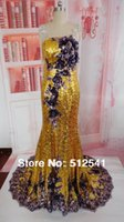 Cheap Wow Actual Images Prom Dresses Gold Sheath Strapless Handmade Flowerprom Sequin Gorgeous 2015 dresses M-126