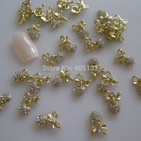 ar bags - ails Tools Rhinestones Decorations MD D bag Crystal Rhinestone Gold Bow Heart Nail Decoration Metal Shinny Deco Metal Nail Ar